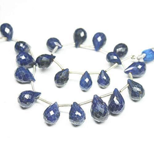 Natural Kashmir Blue Sapphire Faceted Tear Drop Briolette Gemstone Loose Craft Beads Strand 9
