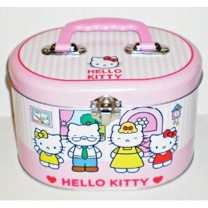 1 X Hello Kitty Family Oval Tin Train Case/ Sewing Box