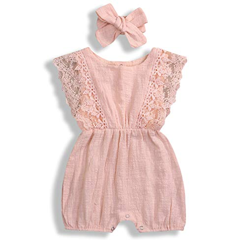- KCSLLCA Baby Girls Lace Romper Set Ruffle Sleeve Solid Color Onesie with Headband (A Peach Pink, 12-18 Months)