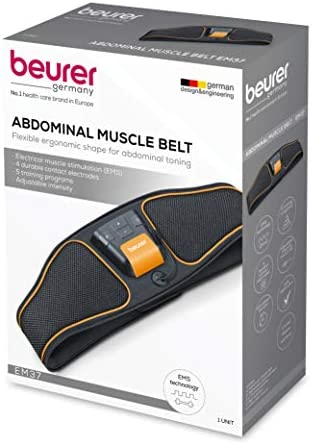 Beurer Abdominal Muscle EMS Belt, Muscle Stimulator and Trainer, Electronic Muscle Toning and Waist Training, Portable, Effective Flat Stomach Workout, 5 Programs, Fitness for Men and Women, EM37 7