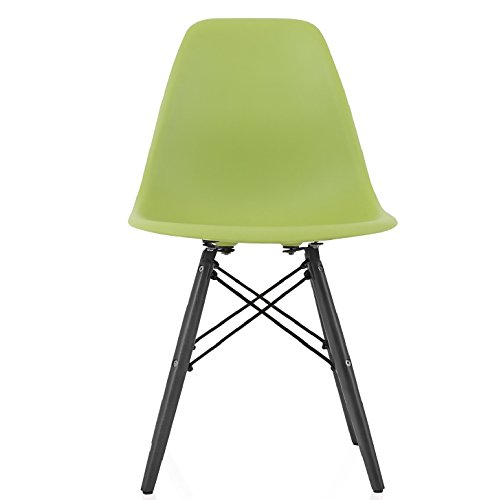 CozyBlock DSW Slope Green Molded Plastic Dining Side Chair with Beech Wood Eiffel Legs ()