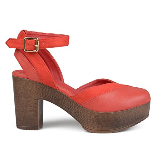 Brinley Co. Womens Rheya Faux Leather Faux Suede Ankle Wrap Platform Heels Red, 10 Regular US