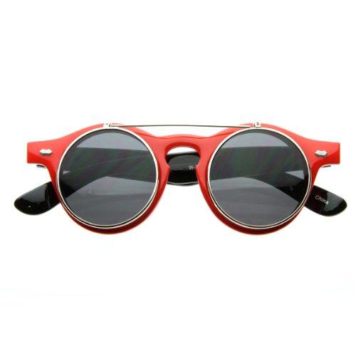 70e22d2e1f26 Small Retro Steampunk Circle Flip Up Glasses Sunglasses (Red-Silver)  (B005P1KZFY)