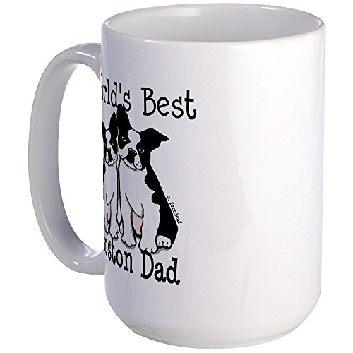 CafePress - World's Best Boston Dad Large Mug - Coffee Mug, Large 15 oz. White Coffee (Terrier Large Mug)