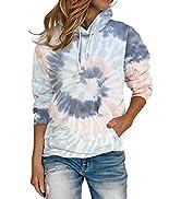 BLENCOT Women's Casual Hoodie Tie Dye Sweatshirt Hooded Long Sleeve Color Block Pullover Top With...