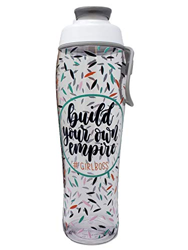50 Strong BPA Free Gym Water Bottle with Ice Guard Flip Top Cap & Carry Loop - Cute Designer Prints - Perfect for Men, Women, Sports & Workout - 24 oz. - Made in USA (Build Your Empire, 30 oz.)