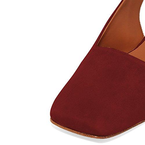 on Dress Shoes Slingback Sandals YDN Slide Low Red Heel Office Block Mules Dark for Women Slip vxPqPIT0w