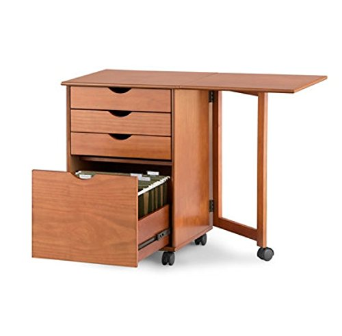 Mobile Filing Cart with Gate Leg Desk Extension (Cherry) by Palos Wood Products