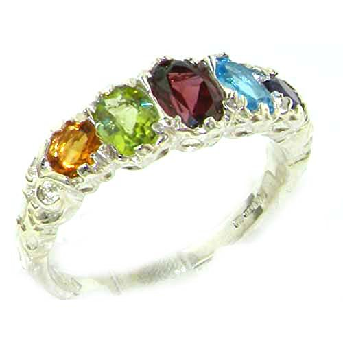 925 Sterling Silver Real Genuine Multi Gemstone Womens Band Ring