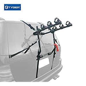 Tyger Auto TG-RK3B203S Deluxe Black 3-Bike Trunk Mount Bicycle Carrier Rack. (Fits most Sedans/Hatchbacks/Minivans and SUVs.)
