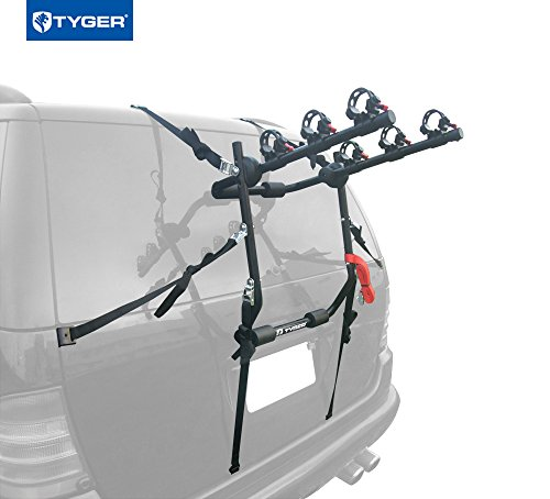 Tyger Auto TG-RK3B203S Deluxe 3-Bike Trunk Mount Bicycle Bike Rack. (Fits most Sedans/Hatchbacks/Minivans and SUVs.) - Mount Rack 3 Bike Carrier