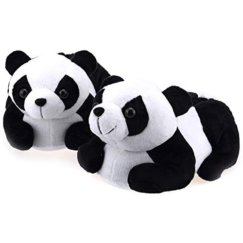 - Onmygogo Indoor Fuzzy Winter Animal Panda Plush Slippers for Adult Women and Men (US Little Kid Size 12-1, Black and White)