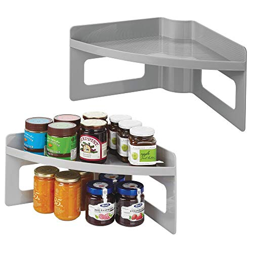 - mDesign Plastic Kitchen Cabinet Lazy Susan Food Storage Organizer Raised Shelf Tray - 2 Tier, Pie-Shaped, 1/4 Wedge, Organize Soup Cans, Pasta, Tea, Coffee, Spices, Jars, Bottles - 2 Pack - Gray