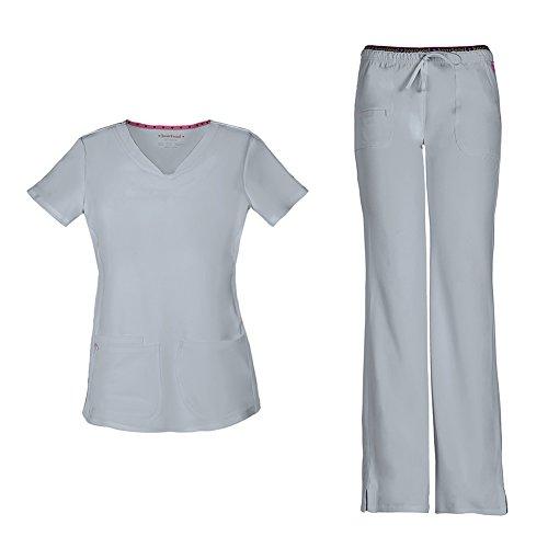HeartSoul Women's Pitter-Pat Shaped V-Neck Scrub Top 20710 & Heartbreaker Heart Soul Drawstring Scrub Pants 20110 Medical Scrub Set (Grey - XX-Small/XXSmall - Front Pant Seam Scrub