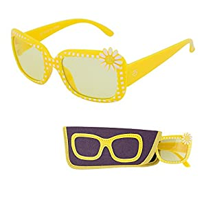 REVO Sunglasses for Children – Yellow Color Lenses for Kids - Reduces Glare, 100% UV Protection - Yellow Frame with Polka dots- Matching Pouch - Ages 3 to 12 - By Optix 55