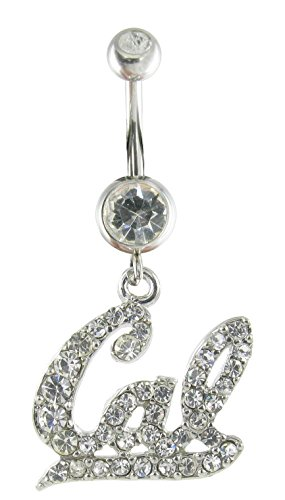 (Officially Licensed UC Berkeley Rhinestone Cal Logo Charm and Navel Belly Ring with Clear Crystals)