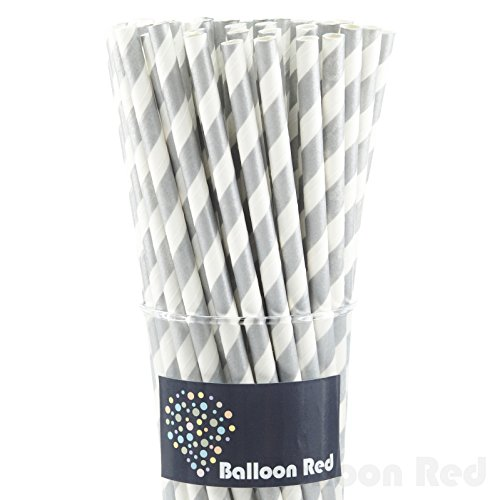 Biodegradable Paper Drinking Straws (Premium Quality), Pack of 50, Striped - Silver - Easy Unique Homemade Halloween Costumes