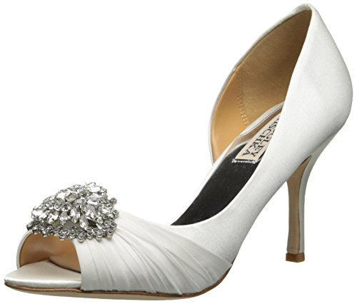 Badgley Mischka Womens Pearson DOrsay Pump White Satin