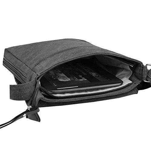 """Unisex Courierbag Star bolsa bolsa de lona bolsa de mensajero bolso de hombro cruzado hombro bolsa de tela verde Khaki 14.17""""x11.81""""x3.94"""" Negro coñac"""