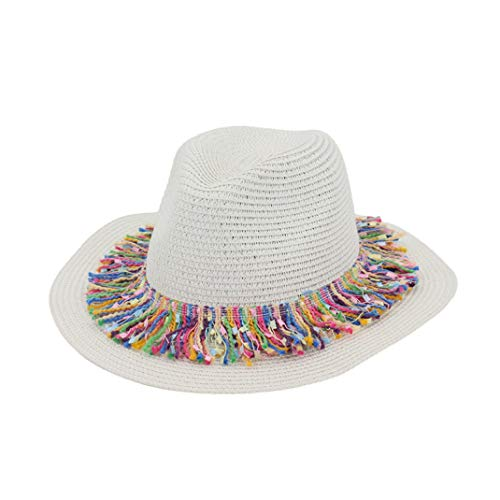 (Women's Summer Straw Fedora Hats Lightweight Jazz Cap Beach Hat Panama Sun Cap with Tassel Ribbon White)
