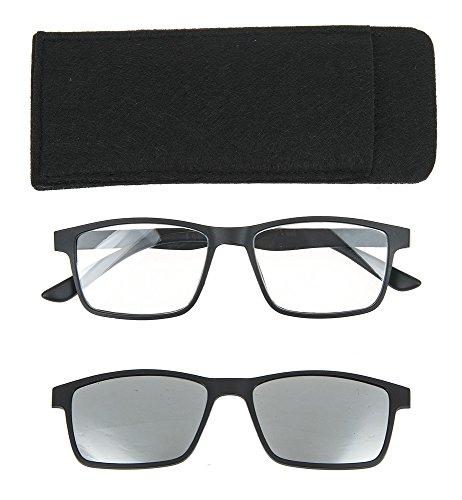 Ganz Unisex Rectangular Business Frame 2 in 1 Magnetic Reader Sunglasses Black - Sunglasses In 1 2