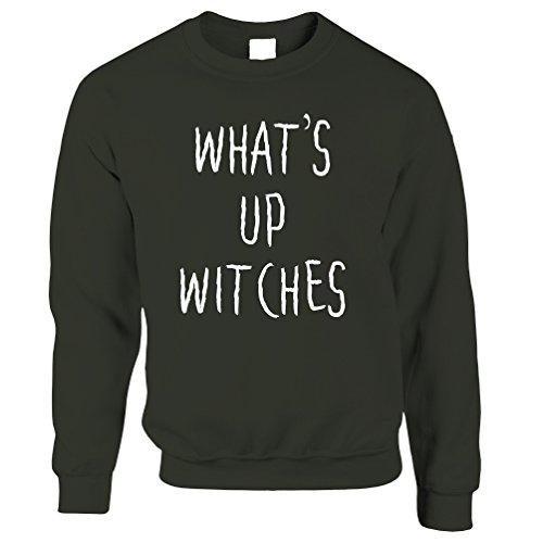 Halloween Drôle Sweat-shirt Ce Qui Se Passe Sorcières Ironisent Vert
