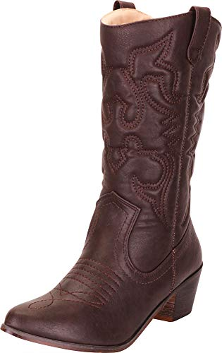 - Cambridge Select Women's Pointed Toe Embroidered Stitched Block Heel Western Cowboy Boots,6.5 B(M) US,Chocolate Brown PU