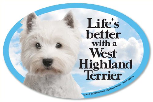 """West Highland Terrier (Westie) Oval Dog Magnet for Cars (and fridges too!). Includes bonus """"I Love My Dog"""" - Magnet West Terrier Highland"""