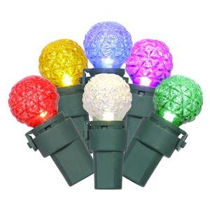 Vickerman 50 Light Faceted G15 LED Light Set Multi-color Lights on Green - Christmas Lights G15