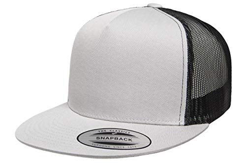 Flexfit/Yupoong Classic 5-Panel Trucker Snapback | Flat Brim Adjustable Ballcap w/Hat Liner - Silver/Black