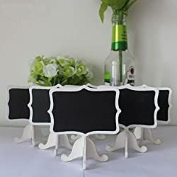 AKOAK 6 Pack Mini Rectangle White Frame Chalkboards with Support Easels for Message Board Signs, Weddings and Parties
