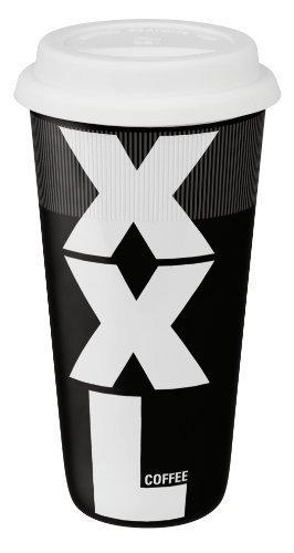 Konitz 12-Ounce XXL Black Travel Mugs with Silicon Lid, Black/White, Set of 4 by Konitz