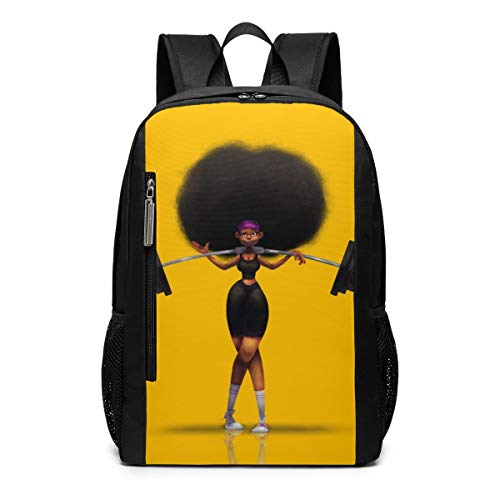 Afro Hair Girl African Woman Yellow Eccentric School Travel Casual Daypack Backpack for Business College Women Men Laptop Large Computer Bag Polyester