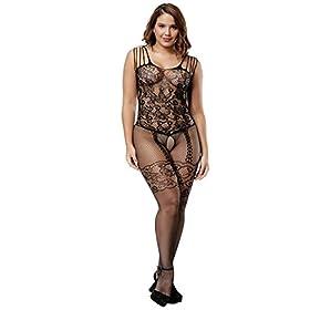 - 410eexOemZL - Deksias Womens Strap Floral Crotchless Bodystocking Plus Size Bodysuit for Women