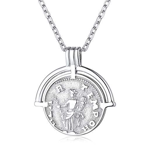 (Coin Necklace 925 Sterling Silver Ancient Roman Coin Pendant Necklace Amulet Jewelry for Women Girls)