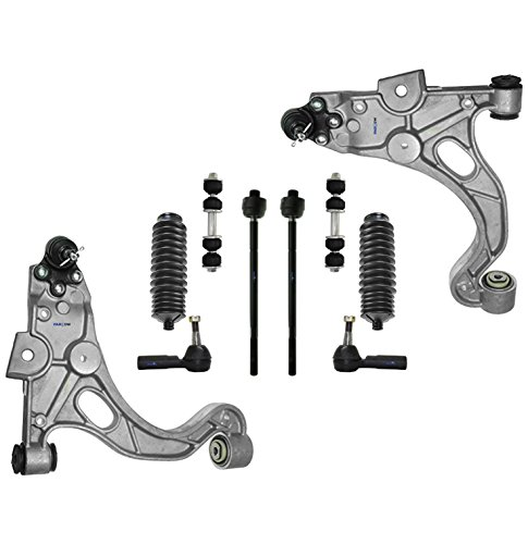 PartsW 10 Pc Front Suspension Kit for LeSabre Park Avenue Riviera DeVille Seville Aurora Bonneville Lower Control Arms & Ball Joints Left & Driver Side, Sway Bar End Link, Rack & Pinion Bellow Boots (Bushing Deville Cadillac Arm Control)