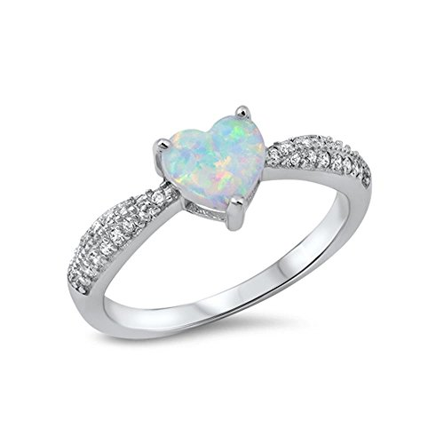 Glitz Jewel (Sterling Silver Created Opal And Cubic Zirconia Heart Ring, 7mm Choose Your Color)