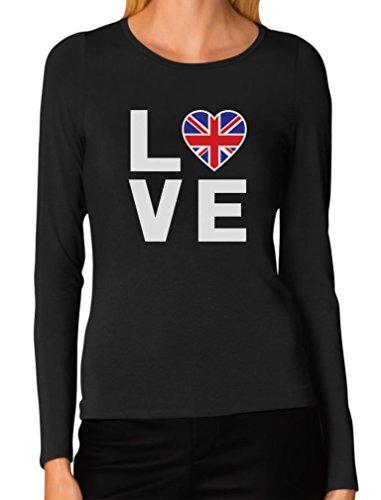 I Love The United Kingdom - British Flag Heart Cool Women Long Sleeve T-Shirt Medium (Cool T-shirts Uk)