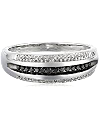 Men's Sterling Silver Black and White Diamond Ring (1/4 cttw, I-J Color, I2-I3 Clarity)