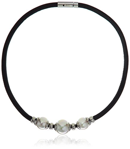 Majorica 12/14mm White Round Pearls On A Black Leather with Rhodium Plated Steel Push-Lock Necklace, - Round Pearls White Semi
