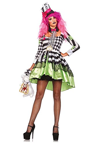 Leg Avenue Women's 2 Piece Deliriously Mad Hatter Costume, Multi, Large (Sexy Mad Hatter Costumes)