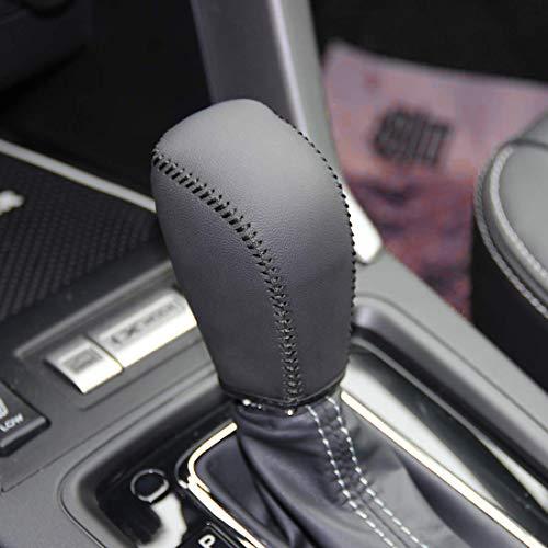 (JI Loncky Black Genuine Leather Gear Shift Knob Cover for 2014-2017 Subaru Forester /2012-2016 Subaru Impreza /2013-2015 Subaru XV Crosstrek/2016 2017 Subaru Crosstrek Automatic Accessories)
