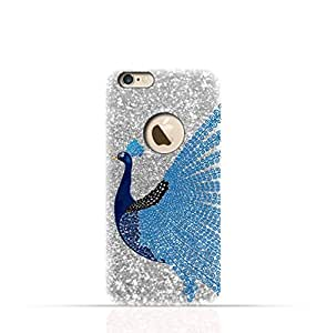 Apple iPhone 8 TPU Silicone Case with Silver Glitter Dual Layer Blue Peacock Design