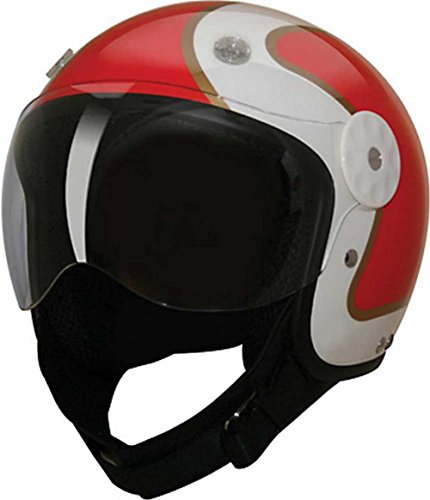 HCI Open Face Fiberglass Motorcycle Helmet Red/Gold w/Face Shield 15-680 (Med)