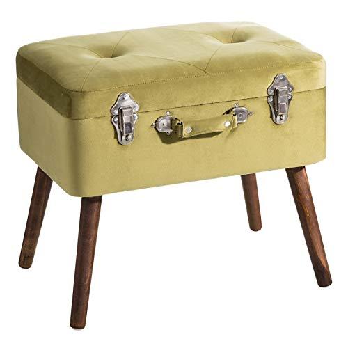 D,casa - Banqueta baul de Terciopelo Vintage Verde de 50x35x45 cm