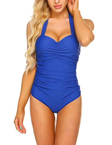 - ELOVER One Piece Swimwear Halter Swimsuit Shirred Tummy Control Swimwear Push Up Ruched Bathing Suits Royal Blue XL