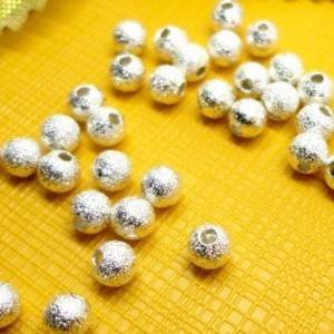 Beautiful Bead 8mm Silver Plated Stardust Sparkle Round Beads for Bracelets DIY Jewelry Making (About 100pcs )