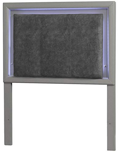 Hillsdale Furniture 7137-370 Hillsdale Kids and Teen Lyndon Lane Twin Upholstered Panel LED Lighted Headboard, Gray (Furniture Lyndon)