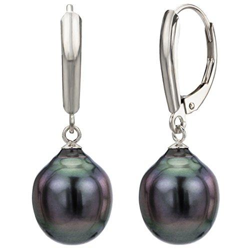 Cultured Baroque Black Tahitian Pearl Earrings Leverback 14K White Gold Jewelry 10-10.5mm