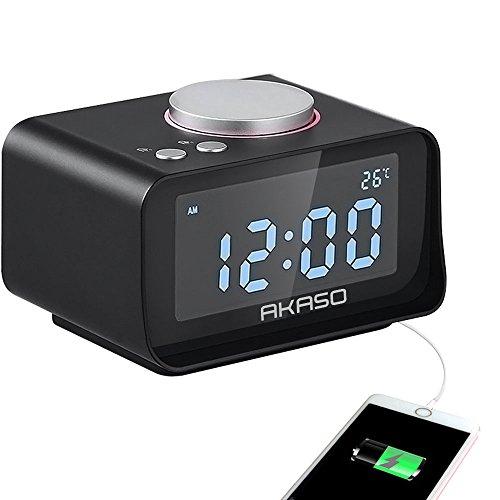 USB Alarm Clock, Digital Alarm Clock Radio - AKASO - Charging Alarm Clock, Snooze Function, 5 Dimmer, Indoor Thermometer, Phone Charger with Dual Port USB, Black
